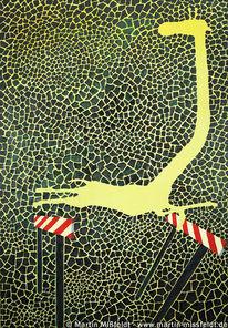 Giraffe, Muster, Ölmalerei, Hürde
