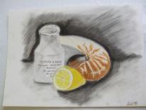 Zeichnung, Stillleben, Zeichnungen, Zitrone