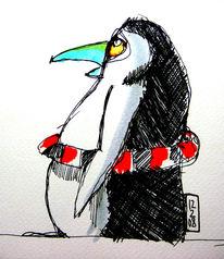 Zeichnung, Skizze, Zeichnungen, Pinguin