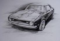 Auto, Chevrolet, Bleistiftzeichnung, Camaro