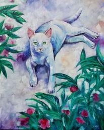 Katze, Blumen, Weiß, Malerei