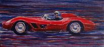 Racecar, Auto, Rennwagen, Ölmalerei