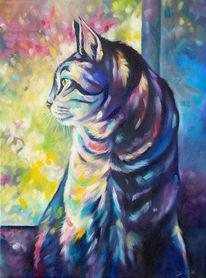 Katze, Tierportrait, Bunt, Katzenzeichnung