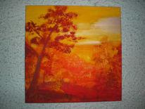 Landschaft, Sonnenuntergang, Baum, Laub