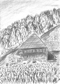 Haus, Kohlezeichnung, Bauernhaus, Skizze