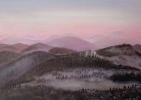 Berge, Malerei, Licht, Abend