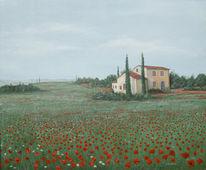 Landschaft, Toskana, Ölmalerei, Mohn