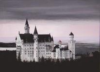 Landschaft, Realismus, Abend, Burg