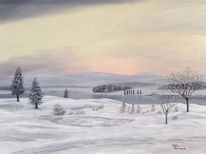 Landschaft, Malerei, Natur, Winter