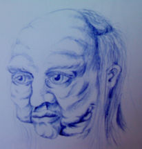 Portrait, Kugelschreiber, Zeichnung, Skizze