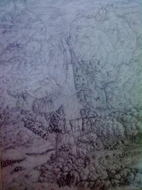 Landschaft, Skizze, Zeichnung, Bleistiftzeichnung