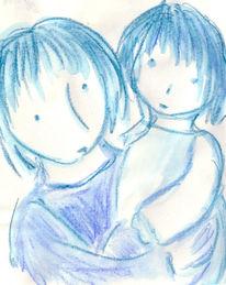 Schwestern, Postkartenmotive, Aquarellmalerei, Kind