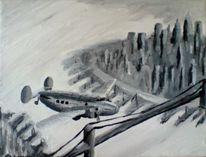Flugzeug, Schwarzweiß, Acrylmalerei, Malerei