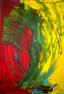 Acrylmalerei, Grün, Blau, Abstrakt