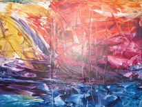 Abstrakt, Malerei, Ufer, Blick