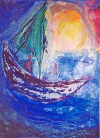 Abstrakt, Malerei, Boot,