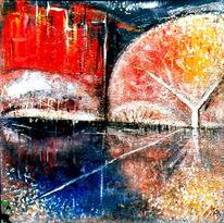 Acryl auf leinwand, Kraft, Bewegt, Malerei