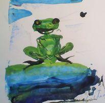 Frosch grün, Malerei, Frosch 2013, Frosch