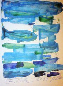 Blau, Teich, Fisch, Garten