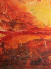 Malerei, Abstrakt, Feuervogel,