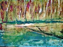 Wald, Farben, Wachsfarben, Heiße