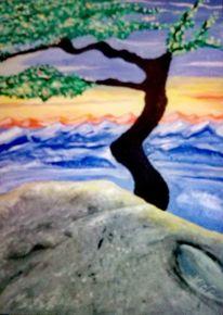Landschaft, Berge, Acrylmalerei, Symbol