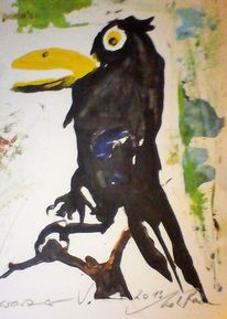 Vogel schwarz, Malerei, 2013