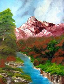Berge, Zeichnung, Baum, Ölmalerei