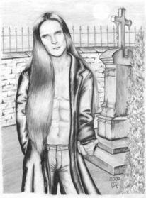 Skizze, Mann, Friedhof, Zeichnung