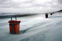 Meer, Sturm, Mülleimer, Strand