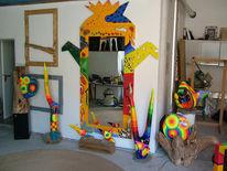 Farben, Holz, Spiegel, Skulptur