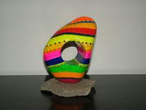 Skulptur, Grauwacke, Farben, Abstrakt
