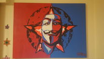 Acrylmalerei, Vendetta, Maske, Gesicht