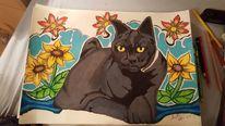 Bleistiftzeichnung, Bunt, Katze blumen fantasie, Pop