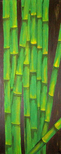 Urwald, Grün, Bambus, Malerei
