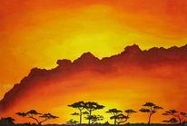 Afrika, Abend, Baum, Himmel