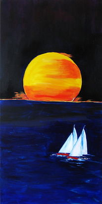 Sonne, Sonnenuntergang, Meer, Boot