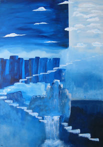 Treppe, Wolken, Menschen, Wasser