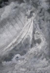 Schnee, Boot, Wasser, Grau