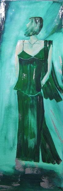 Frau, Kleid, Mode, Grün