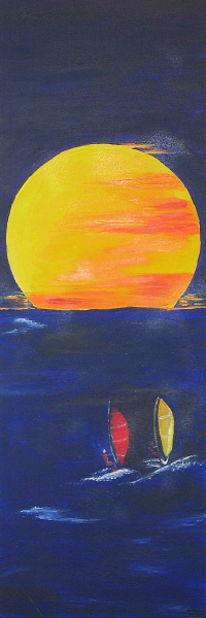 Sonnenuntergang, Wasser, Meer, Surfen