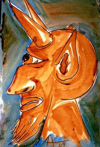 Kaffeemalerei, Teufel, Surreal, Malerei