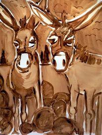 Kaffeemalerei, Tiere, Malerei, Esel