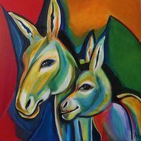 Esel, Farben, Expressive malerei, Bunt