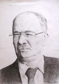 Zeichnung, Lehrer, Portrait, Skizze