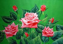 Blumen, Figural, Rose, Acrylmalerei