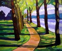 Park, Malerei, Fluss