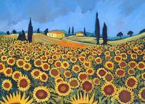Landschaft, Malerei, Sonnenblumen