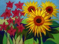 Velourpapier, Sonnenblumen, Pastellmalerei, Malerei