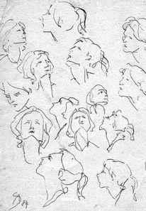 Kopf, Weiblich, Studie, Bleistiftzeichnung